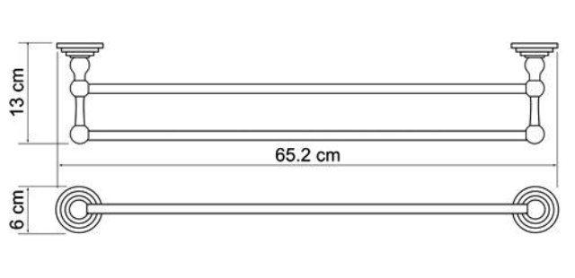 Штанга для полотенец WasserKRAFT Ammer K-7040 двойная металл, покрытие