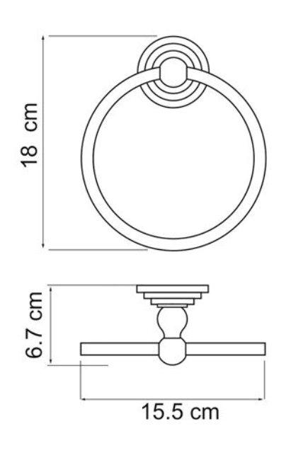 Держатель полотенец WasserKRAFT Ammer K-7060 кольцо металл, покрытие