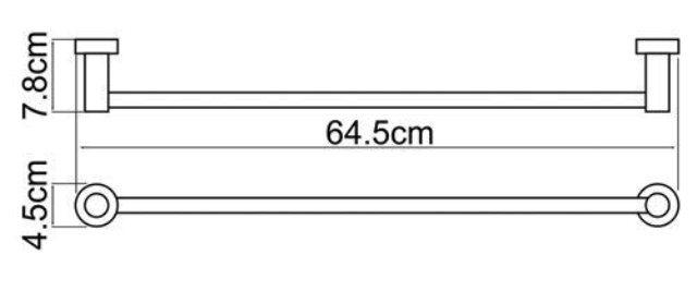 Штанга для полотенец WasserKRAFT Donau K-9430 металл, хромоникелевое покрытие, фото