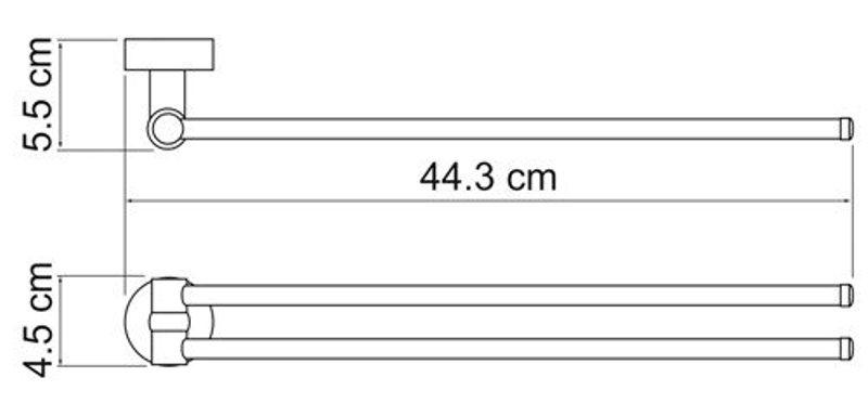 Держатель полотенец WasserKRAFT Donau K-9431 рога двойные металл, хромоникелевое покрытие, фото