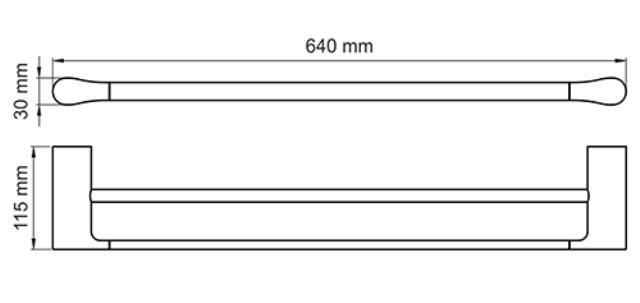 Штанга для полотенец WasserKRAFT Elbe K-7240 двойная металл, PVD покрытие, фото