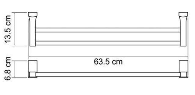 Штанга для полотенец WasserKRAFT Exter K-5240 двойная металл, покрытие
