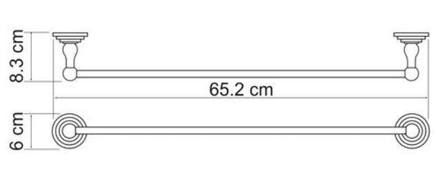 Штанга для WasserKRAFT Isar K-7330 полотенец металл, покрытие