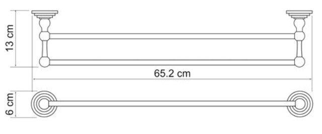 Штанга для полотенец WasserKRAFT Isar K-7340 двойная металл, покрытие