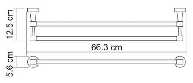 Штанга для полотенец WasserKRAFT Isen K-4040 двойная металл, хромоникелевое покрытие, фото