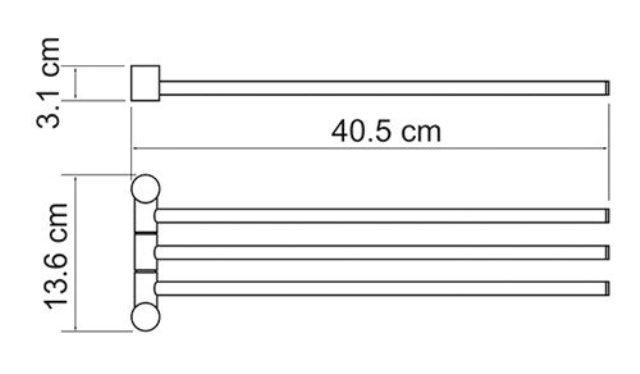 Держатель полотенец WasserKRAFT K-1033 3-е рога металл, хромоникелевое покрытие, фото