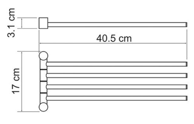 Держатель полотенец WasserKRAFT K-1034 4-е рога металл, хромоникелевое покрытие, фото