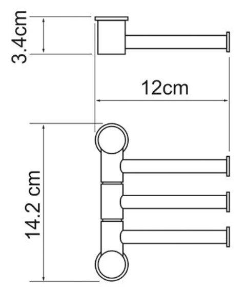 Держатель полотенец WasserKRAFT K-1053 3-е рога, короткие металл, хромоникелевое покрытие, фото