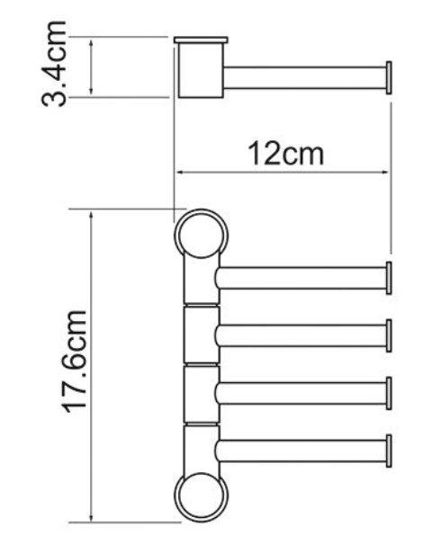 Держатель полотенец WasserKRAFT K-1054 4-е рога, короткие металл, хромоникелевое покрытие, фото