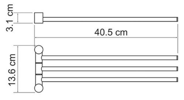 Держатель полотенец WasserKRAFT K-1633 3-е рога металл, покрытие