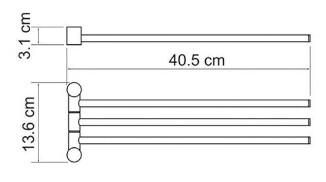Держатель полотенец WasserKRAFT K-1933 3-е рога металл, покрытие