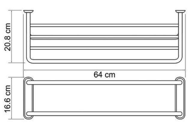 Полка для полотенец WasserKRAFT K-888 металл, хромоникелевое покрытие, фото