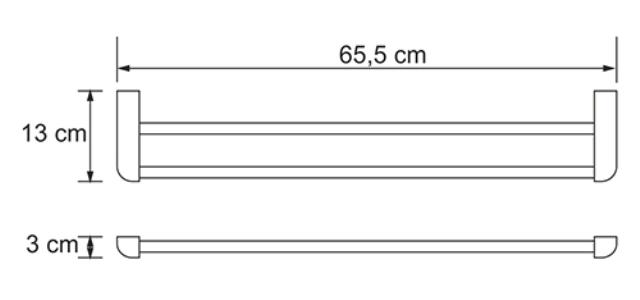 Штанга для полотенец WasserKRAFT Kammel K-8340 двойная металл, хромоникелевое покрытие, фото