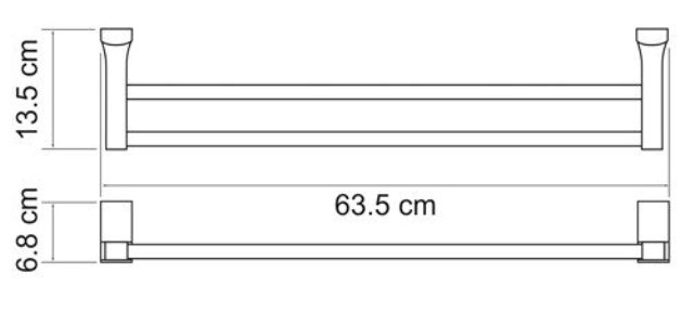 Штанга для полотенец WasserKRAFT Leine K-5040 White двойная металл, хромоникелевое покрытие, ABS - пластик, фото
