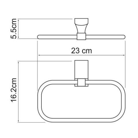 Держатель полотенец WasserKRAFT Leine K-5060 White кольцо металл, хромоникелевое покрытие, ABS - пластик, фото
