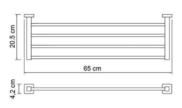 Полка для полотенец WasserKRAFT Lippe K-6511 металл, хромоникелевое покрытие, фото