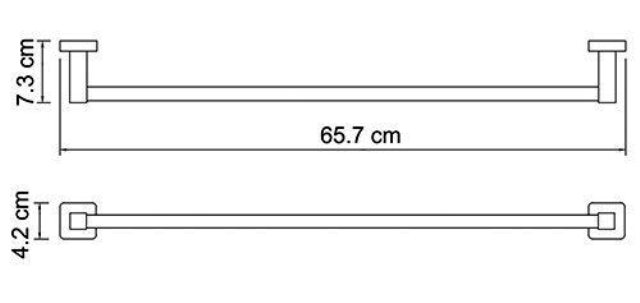 Штанга для полотенец WasserKRAFT Lippe K-6530 металл, хромоникелевое покрытие, фото