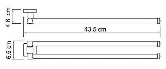 Держатель полотенец WasserKRAFT Lippe K-6531 рога металл, хромоникелевое покрытие, фото