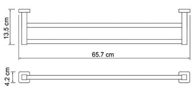 Штанга для полотенец WasserKRAFT Lippe K-6540 двойная металл, хромоникелевое покрытие, фото