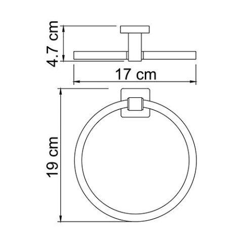 Держатель полотенец WasserKRAFT Lippe K-6560  кольцо металл, хромоникелевое покрытие, фото