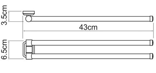 Держатель полотенец WasserKRAFT Oder K-3031 рога металл, хромоникелевое покрытие, фото