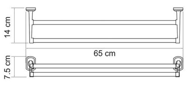 Штанга для полотенец WasserKRAFT Oder K-3040 двойная металл, хромоникелевое покрытие, фото