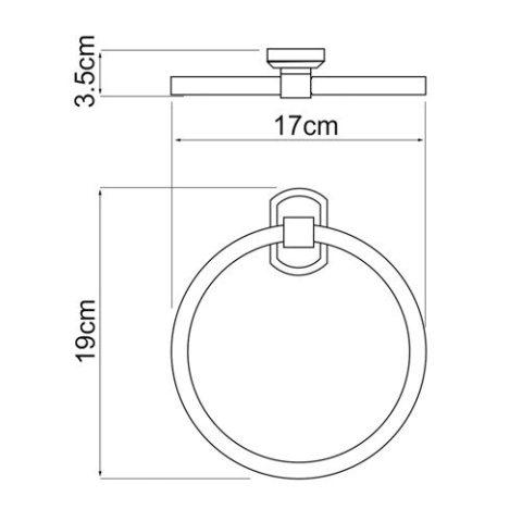 Держатель полотенец WasserKRAFT Oder K-3060 кольцо металл, хромоникелевое покрытие, фото