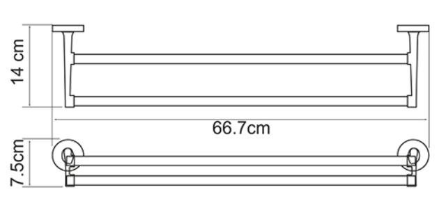 Штанга для полотенец WasserKRAFT Rhein K-6240 двойная металл, хромоникелевое покрытие, фото