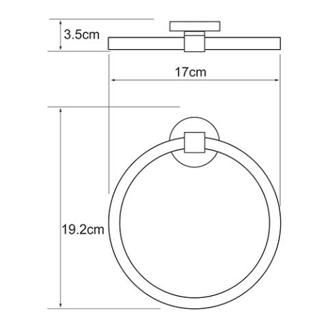 Держатель полотенец WasserKRAFT Rhein K-6260 кольцо металл, хромоникелевое покрытие, фото