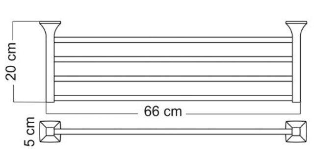 Полка для полотенец WasserKRAFT Wern K-2511 металл, хромоникелевое покрытие, фото