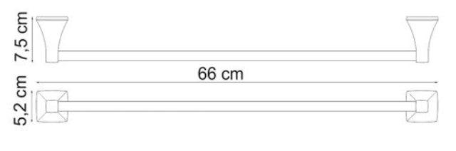 Штанга для полотенец WasserKRAFT Wern K-2530 металл, хромоникелевое покрытие, фото