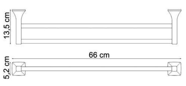 Штанга для полотенец WasserKRAFT Wern K-2540 двойная металл, хромоникелевое покрытие, фото
