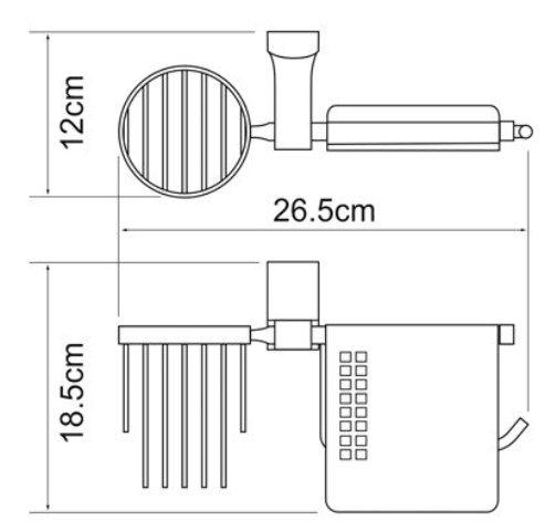Держатель туалетной бумаги WasserKRAFT Leine K-5059 White и освежителя металл, хромоникелевое покрытие, фото
