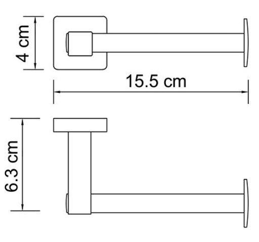 Держатель туалетной бумаги WasserKRAFT Lippe K-6596 металл, хромоникелевое покрытие, фото