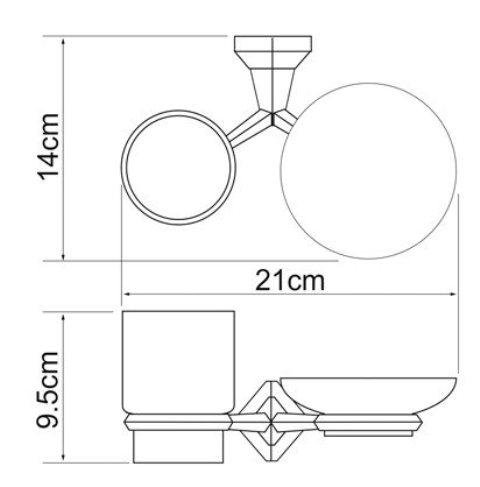 Держатель стакана и мыльницы WasserKRAFT Aller K-1126C металл, хромоникелевое покрытие, керамика, фото