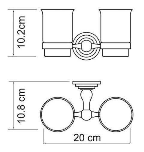 Подстаканник двойной стеклянный WasserKRAFT Ammer K-7028D металл, покрытие
