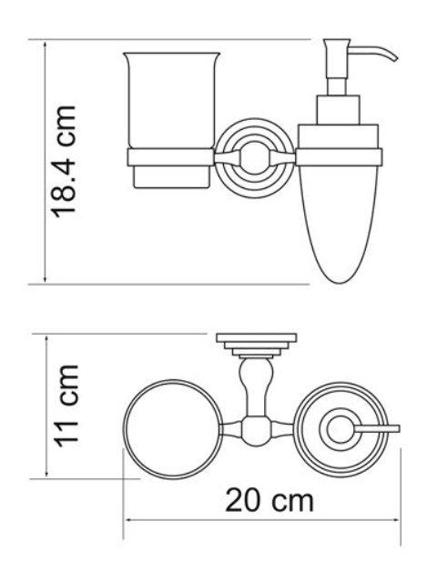 Держатель стакана и дозатора WasserKRAFT Ammer K-7089 металл, покрытие