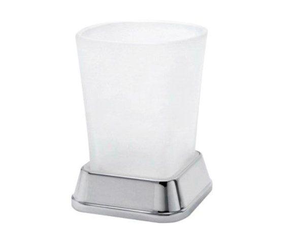 Стакан для зубных щеток WasserKRAFT Amper K-5428 металл, хромоникелевое покрытие, матовое стекло, фото