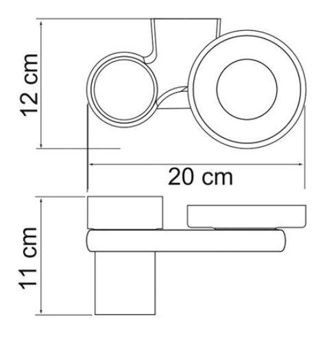 Держатель стакана и мыльницы WasserKRAFT Berkel K-6826 металл, хромоникелевое покрытие, матовое стекло, фото