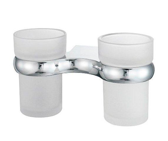 Подстаканник двойной стеклянный WasserKRAFT Berkel K-6828D металл, хромоникелевое покрытие, матовое стекло, фото