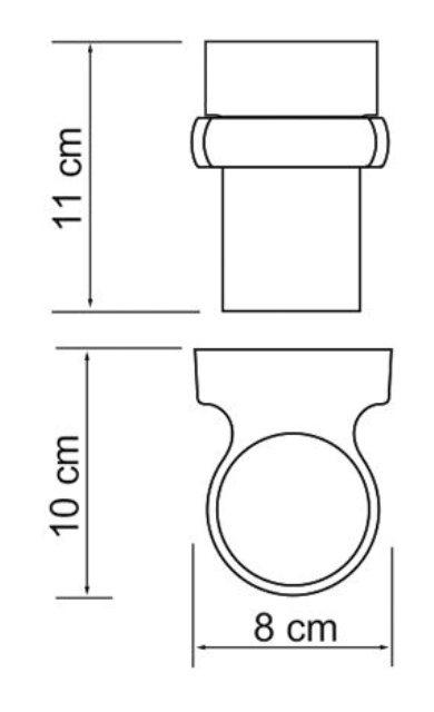 Подстаканник стеклянный WasserKRAFT Berkel K-6828 металл, хромоникелевое покрытие, матовое стекло, фото
