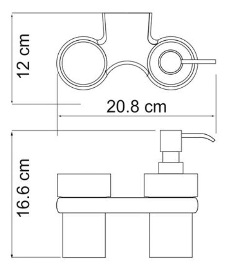 Держатель стакана и дозатора WasserKRAFT Berkel K-6889 металл, хромоникелевое покрытие, матовое стекло, фото