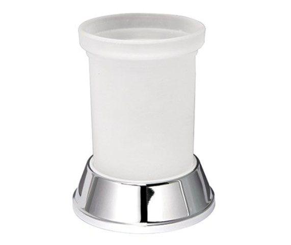 Стакан для зубных щеток WasserKRAFT Donau K-2428 металл, хромоникелевое покрытие, матовое стекло, фото