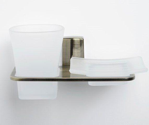 Держатель стакана и мыльницы WasserKRAFT Exter K-5226 металл, матовое стекло, покрытие светлая бронза, фото