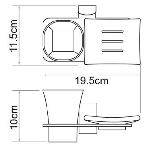 Держатель стакана и мыльницы WasserKRAFT Exter K-5226 металл, матовое стекло, покрытие