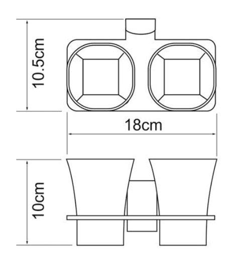 Подстаканник WasserKRAFT Exter K-5228D двойной стеклянный металл, уплотнительные пластиковые кольца, матовое стекло, покрытие