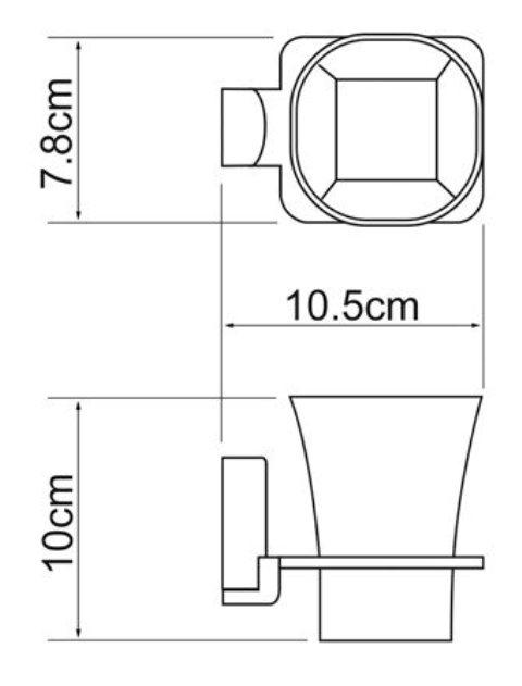 Стакан для зубных щеток стеклянный WasserKRAFT Exter K-5228 металл, матовое стекло, покрытие