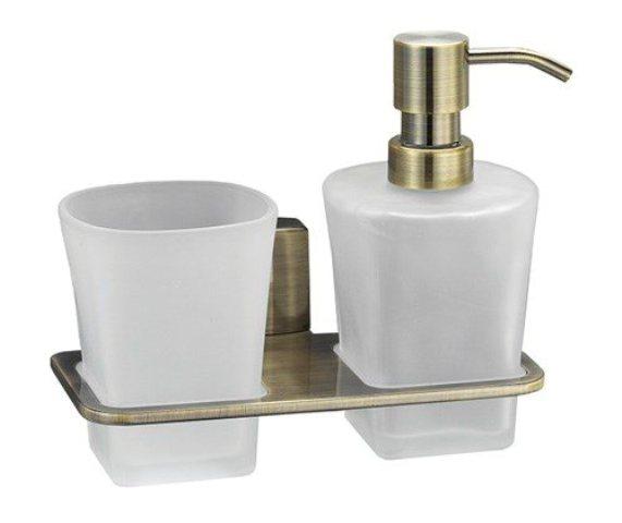 Держатель стакана и дозатора WasserKRAFT Exter K-5289 металл, матовое стекло, покрытие светлая бронза, фото
