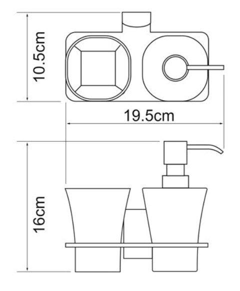 Держатель стакана и дозатора WasserKRAFT Exter K-5289 металл, матовое стекло, покрытие