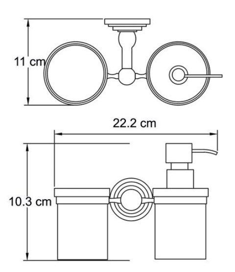 Держатель стакана и дозатора WasserKRAFT Isar K-7389 металл, матовое стекло, покрытие